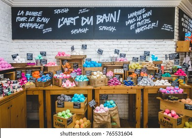 Montreal, Canada _ November 29, 2017. Inside Lush Shop in Montreal on St-Denis Street. Wide shot of the Wall and Display of Different Soap and Bath Bombs.