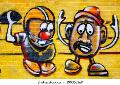 MONTREAL CANADA APRIL 07: Street art Mr Potatos on april 07 2014 in Montreal Canada. Montreal. is the perfect place to walk in the back alleys and abandoned areas, looking for fresh air and street art