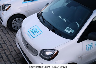 MONTREAL, CANADA - APRIL 13 2019: German car rental company car2go, a subsidiary of Daimler AG, offers Smart and Mercedes-Benz vehicles and features one-way point-to-point rentals.