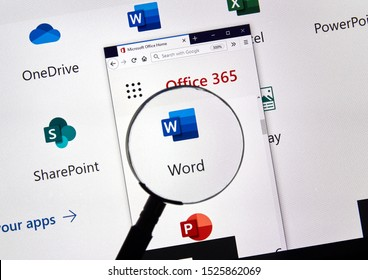 MONTREAL, CANADA - APRIL 24, 2019: Microsoft Word new logo under magnifying glass over a loptop screen. Microsoft Office is a family of client-server software and services developed by Microsoft.