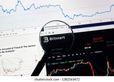 MONTREAL, CANADA - APRIL 26, 2019: Bitmart.com cryptocurrency digital assets exchange logo and home page on a laptop screen under magnifying glass.