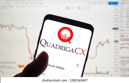 MONTREAL, CANADA - APRIL 26, 2019: QuadrigaCX cryptocurrency exchange logo and application on Android Samsung Galaxy s9 Plus screen in a hand over a laptop display with bitcoin chart on it.