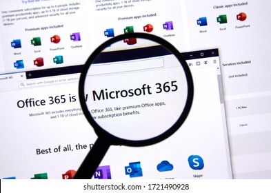 Montreal, Canada - April 26, 2020: Microsoft 365 web page. Microsoft 365 is a cloud based subscription services and productivity tools from Microsoft such as Word, Excel and other Office applications