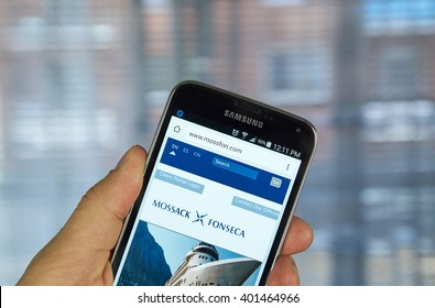 MONTREAL, CANADA - APRIL 5, 2016 : Mossack Fonseca page on mobile phone. Mossack Fonseca is a Panamanian law firm well known for the biggest leak in the history called The Panama Papers.