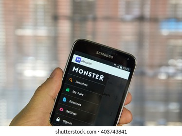 MONTREAL, CANADA - APRIL 7, 2016 : Monster job search application on a cell phone. Monster is a global online employment solution for people seeking jobs.