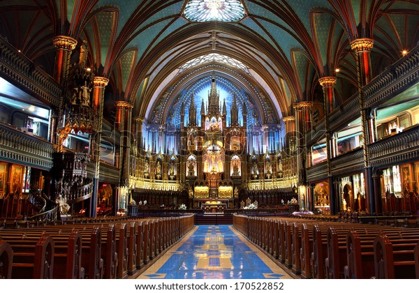 MONTREAL, CANADA - Aug. 20: Inside Notre-Dame Basilica in Montreal Aug. 20, 2012. It is an historic Church in Old Montreal, Quebec, Canada, known for its world-renowned Gothic revival architecture.