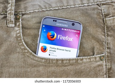MONTREAL, CANADA - AUGUST 10, 2018: Firefox mobile browser on a cellphone screen in a jeans pocket. Firefox for Android is the build of the Mozilla Firefox web browser for mobile devices