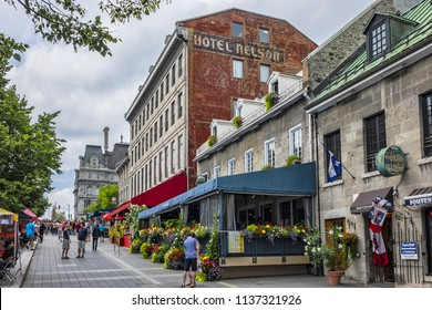 MONTREAL, CANADA - AUGUST 13, 2017: View of Jacques Cartier square (Place Jacques-Cartier, 1847) - square located in Old Montreal, an entrance to the Old Port of Montreal.