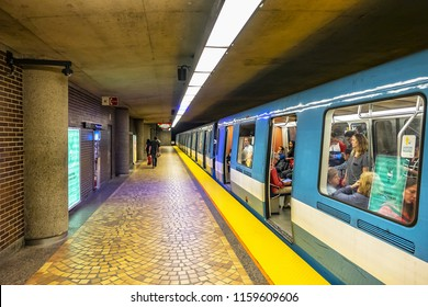 MONTREAL, CANADA - AUGUST 13, 2017: Subway station platform in Montreal. Montreal Metro (Metro de Montreal) is main form of rapid public underground transport in the city, Quebec.