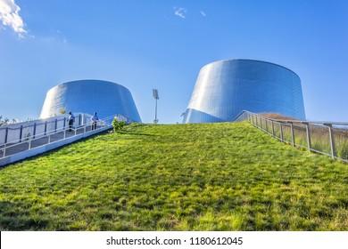 MONTREAL, CANADA - AUGUST 13, 2017: View of Montreal Rio Tinto Alcan Planetarium (2013) in Space for Life (Espace pour la vie). District Hochelaga-Maisonneuve.
