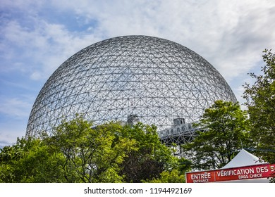 MONTREAL, CANADA - AUGUST 13, 2017: View of the Biosphere (1967) at Parc Jean-Drapeau on Saint Helen's Island. Biosphere is a museum in Montreal dedicated to the environment.