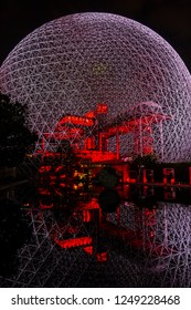 MONTREAL, CANADA - AUGUST 13, 2017: Fragment of the Biosphere (1967) at Parc Jean-Drapeau on Saint Helen's Island at night. Biosphere is a museum in Montreal dedicated to the environment.
