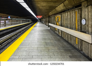 MONTREAL, CANADA - AUGUST 13, 2017: Subway station Jean-Drapeau. Montreal Metro (Metro de Montreal) is main form of rapid public underground transport in the city of Montreal, Quebec.