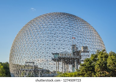 MONTREAL, CANADA - AUGUST 13, 2017: Fragment of the Biosphere (1967) at Parc Jean-Drapeau on Saint Helen's Island. Biosphere is a museum in Montreal dedicated to the environment.