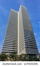 MONTREAL, CANADA - AUGUST 13, 2017: RBC headquarters in Montreal at Place Ville Marie. Royal Bank of Canada (RBC) - multinational financial company, largest bank in Canada by market capitalization.