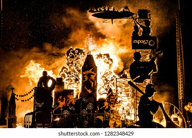 Montreal, Canada - August 13 2017: Burning objects in Fella Festival in TOHU Montreal
