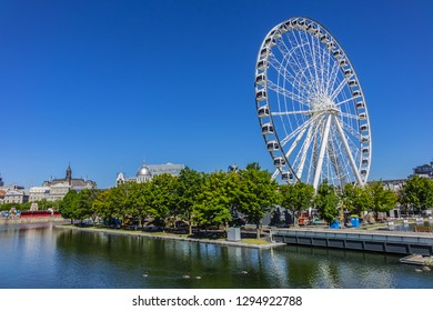MONTREAL, CANADA - AUGUST 13, 2017: The Montreal Observation Wheel or Great Wheel of Montreal (Grande Roue de Montreal) in the Old Port.