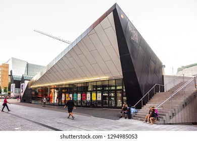 MONTREAL, CANADA - AUGUST 13, 2017: Place des Arts - arts center in Montreal, largest cultural and artistic complex in Canada. Place des Arts' outdoor esplanade is meeting place for great festivals.