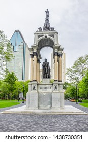 MONTREAL, CANADA - AUGUST 13, 2017: Monument to Sir John Alexander Macdonald - statue of Canada's first Prime Minister.