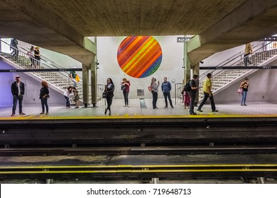 MONTREAL, CANADA - AUGUST 13, 2017: Subway station platform in Montreal. Montreal Metro (Metro de Montreal) is main form of rapid public underground transport in the city.