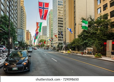 MONTREAL, CANADA - AUGUST 13, 2017: Buildings and skyscrapers at Sherbrooke Street (in French: rue Sherbrooke) - major east-west artery on the Island of Montreal. Quebec, Canada.