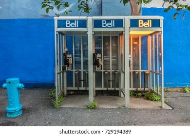 MONTREAL, CANADA - AUGUST 13, 2017: A Bell Telephone booth in Montreal city.
