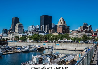 MONTREAL, CANADA - AUGUST 13, 2017: View of Montreal Old port area with many moored boats.