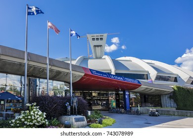 MONTREAL, CANADA - AUGUST 13, 2017: Montreal Olympic Stadium. Olympic Stadium Montreal (Stade olympique, 1970) at Olympic Park in Hochelaga-Maisonneuve district of Montreal.