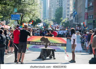 MONTREAL, CANADA - AUGUST, 18 2013 - Gay Pride parade on town street