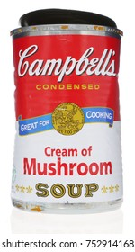 MONTREAL, CANADA - August 19, 2016: Campbell's condensed tomato soup can. The Campbell Soup Company, is an American producer of canned soups. Andy Warhol used Campbell's soup cans in pop art.