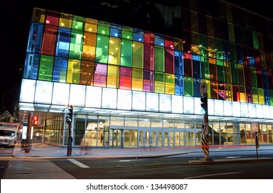 MONTREAL, CANADA - AUGUST 19: Montreal Convention Centre (Palais des Congres de Montreal) with its colorful glass facade by night on August 19, 2008 in Montreal, Canada.