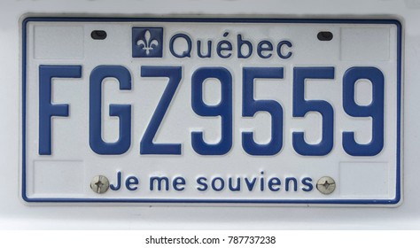 MONTREAL, CANADA - AUGUST 22, 2014: Blue license plate of Quebec, Canada. I remember