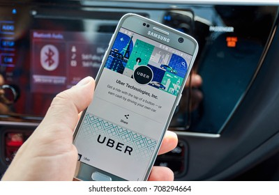 MONTREAL, CANADA - AUGUST 22, 2017 : Uber application on Samsung S7. Uber Technologies Inc. is an American technology company headquartered in San Francisco