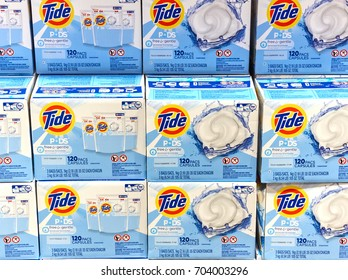 MONTREAL, CANADA - AUGUST 25, 2017 : Tide loundry products in Costco. Tide, Alo, Vizir or Ace in some countries is a laundry detergent manufactured by Procter Gamble