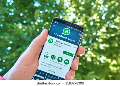 MONTREAL, CANADA - August 28, 2018: Whatsapp Business android app on Samsung s8 screen. WhatsApp Business app is a tool for businesses which allows to communicate with their customers.