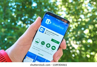 MONTREAL, CANADA - August 28, 2018: Microsoft SharePoint android app on Samsung s8 screen.