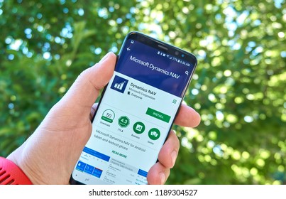 MONTREAL, CANADA - August 28, 2018: Microsoft Dynamics NAV android app on Samsung s8 screen.