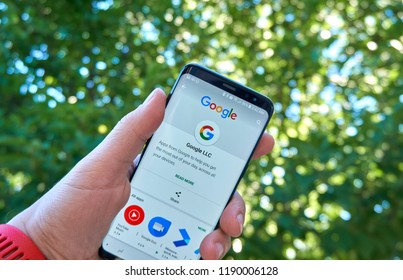 MONTREAL, CANADA - August 28, 2018: Google logo ans sign on Play Store on Samsung s8 screen.