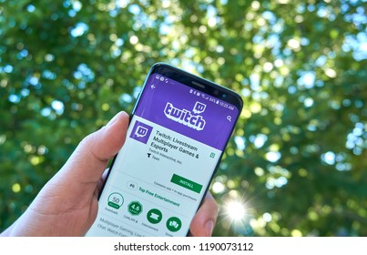 MONTREAL, CANADA - August 28, 2018: Twitch android app on Samsung s8 screen in a hand.