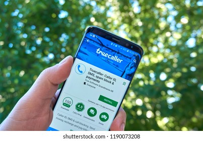 MONTREAL, CANADA - August 28, 2018: Truecaller android app on Samsung s8 screen in a hand.