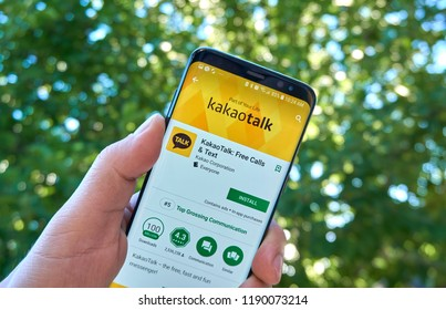 MONTREAL, CANADA - August 28, 2018: Kakao Talk android app on Samsung s8 screen in a hand.
