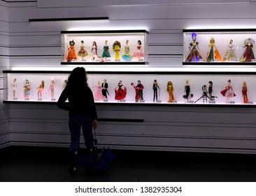 MONTREAL, CANADA - CIRCA 2019: Barbie Expo is held at Les Cours Mont-Royal all year round since 2016. Many dolls are donated by collectors and designers.