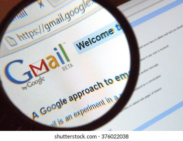 MONTREAL, CANADA -  CIRCA FEBRUARY 2016 - Gmail old style logo on web page under magnifying glass.