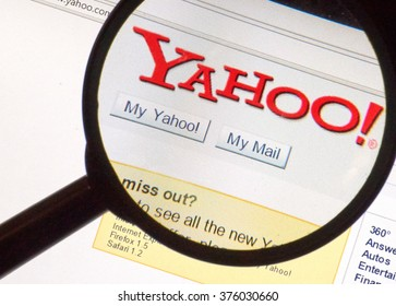MONTREAL, CANADA -  CIRCA FEBRUARY 2016 - Old, 2004 year Yahoo logo under magnifying glass.