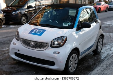 MONTREAL, CANADA - CIRCA MARCH 2019: German car rental company car2go, a subsidiary of Daimler AG, offers Smart and Mercedes-Benz vehicles and features one-way point-to-point rentals.