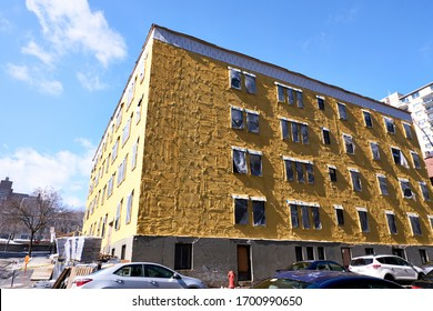 Montreal, Canada - Circa March, 2020: Residential construction site, while novel corona virus COVID-19 puts the city on pause.