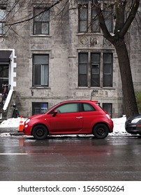 MONTREAL, CANADA - CIRCA NOVEMBER 2019: Distinct retro style of FIAT 500 is based on 1957 original model that's considered as one of the first purpose-built city cars.