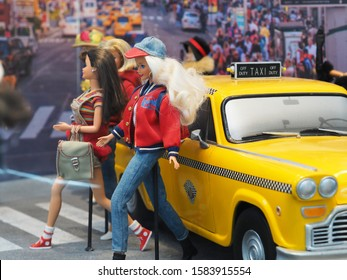 MONTREAL, CANADA - CIRCA NOVEMBER 2019: Barbie Expo is held at Les Cours Mont-Royal all year round since 2016. Many dolls are donated by collectors and designers.