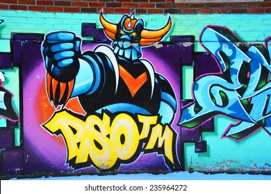 MONTREAL CANADA DEC 02: Street art Montreal  Grendize ron dec 02 2014 in Montreal Canada. Montreal. is the perfect place to walk in the back alleys and abandoned areas, looking for street art.