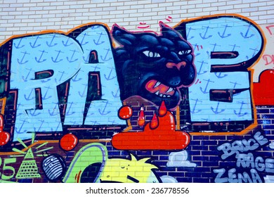 MONTREAL CANADA DEC 02: Street art Montreal black panther on dec 02 2014 in Montreal Canada. Montreal. is the perfect place to walk in the back alleys and abandoned areas, looking street art.